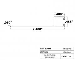 """Strip Brush Holder 72"""" N70  5/16"""" aluminum channel"""