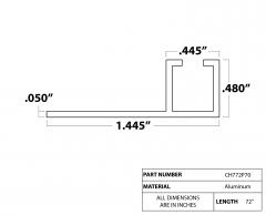 """Strip Brush Holder 72"""" P70  5/16"""" aluminum channel"""