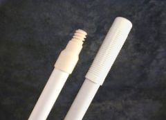 "Handle 60"" White fiberglass, threaded tip"