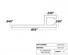 """Strip Brush Holder 72"""" Q2.5 1/8"""" aluminum channel"""